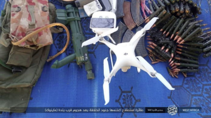 Drone, weapons and ammunition that fell into the hands of ISIS operatives in the attack.