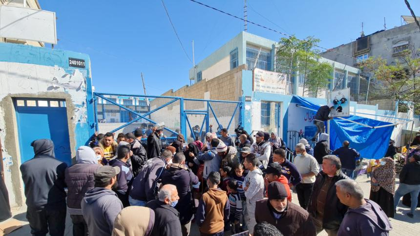 Local residents close one of UNRWA's food distribution centers (al-Quds, February 21, 2021).