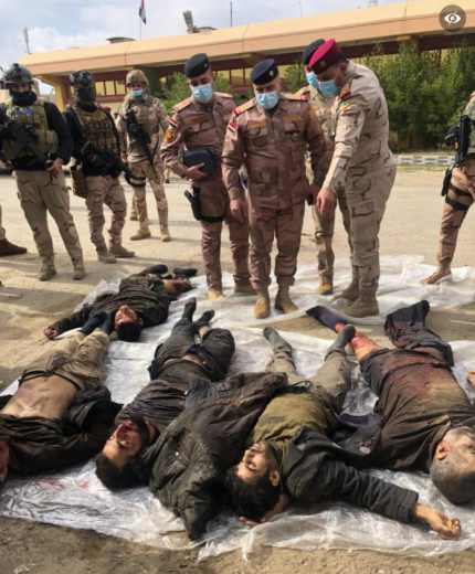 Bodies of ISIS operatives who planned to carry out attacks in Baghdad (Facebook page of the Baghdad Operations Command, February 20, 2021)