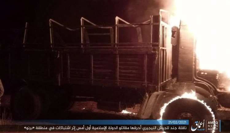 One of the vehicles set on fire by ISIS operatives (Telegram, February 21, 2021)