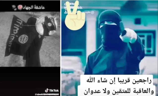 Examples of ISIS's content posted on TikTok (Middle East Monitor, October 24, 2019)