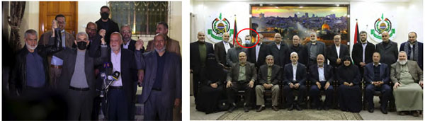Right: The elected Hamas leadership, headed by Yahya al-Sinwar. Marwan Issa, senior military-terrorist wing figures, fourth from the left in the second row (wearing a mask and circled in red) (Hamas website in English, March 14, 2021). Left: Yahya al-Sinwar, head of the Hamas political bureau in the Gaza Strip, at a press conference held immediately after the election results were announced. Nizar Awadallah is at the left (Hamas website in Arabic, March 10, 2021).Right: The elected Hamas leadership, headed by Yahya al-Sinwar. Marwan Issa, senior military-terrorist wing figures, fourth from the left in the second row (wearing a mask and circled in red) (Hamas website in English, March 14, 2021). Left: Yahya al-Sinwar, head of the Hamas political bureau in the Gaza Strip, at a press conference held immediately after the election results were announced. Nizar Awadallah is at the left (Hamas website in Arabic, March 10, 2021).