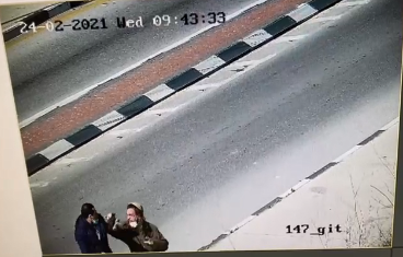 From the CCTV video documenting the attempted stabbing attack at the Yitzhar Junction (Rescue Without Borders in Judea and Samaria, February 24, 2021).