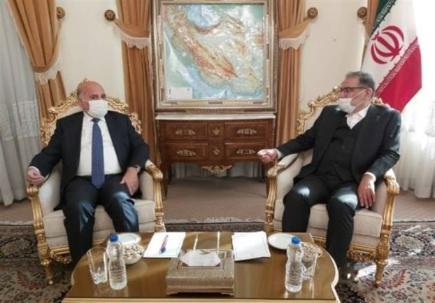 The meeting between the Iraqi minister of foreign affairs and the secretary of the Supreme National Security Council of Iran (Tasnim, February 27, 2021)
