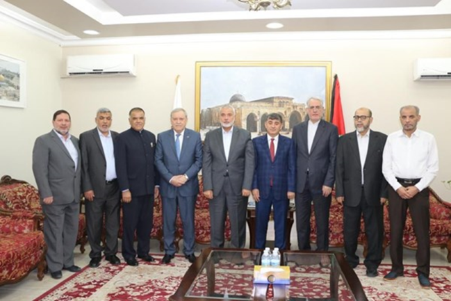 The meeting between the ambassadors of Iran, Qatar, Turkey and South Africa with members of Hamas Politburo (Fars, February 28, 2021)