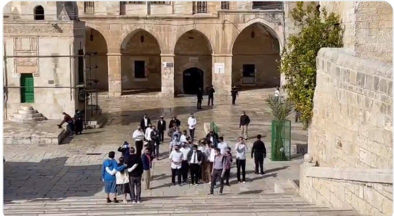Palestinian video of Israeli visitors to the Temple Mount compound (Palinfo Twitter account, March 8, 2021).