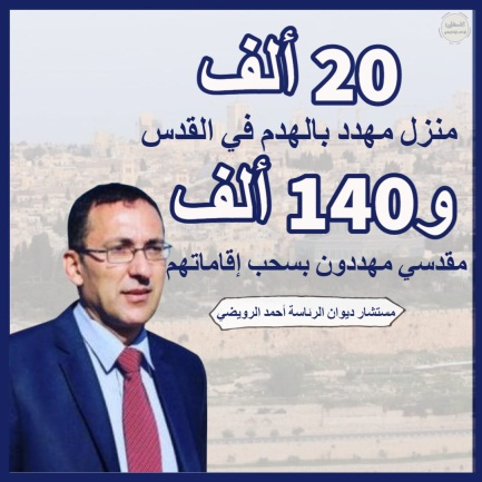Palestinian TV posted data reported by Ahmed al-Ruweidi in a Wafa interview (Palestinian TV Facebook page, March 15, 2021).