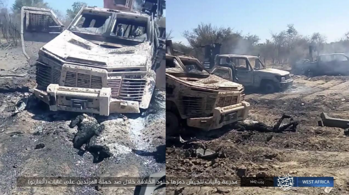 Nigerian army vehicles and APCs destroyed in the operation (Telegram, March 13, 2021)