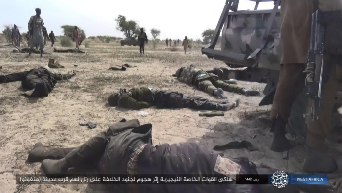 Nigerian soldiers killed in the fighting zone around the city of Monguno.