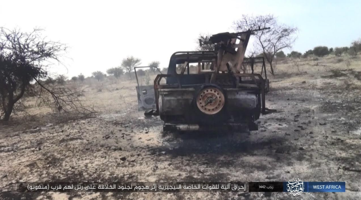 Nigerian army ATV set on fire by ISIS operatives around the city of Monguno.