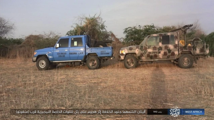 Two of the vehicles seized by ISIS operatives (Telegram, March 14, 2021).