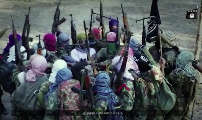 ISIS operatives in Mozambique renewing their pledge of allegiance to ISIS's leader.