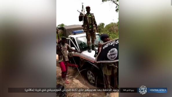 One of the ISIS operatives who took part in the attack standing on an ATV of the Mozambican security forces (Telegram, December 8, 2019)