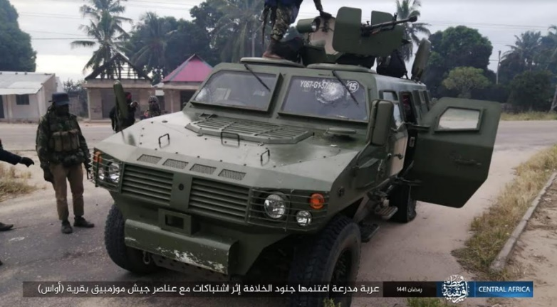 Mozambican army vehicle seized by operatives of ISIS's Central Africa Province in Cabo Delgado (Telegram, May 13, 2020)