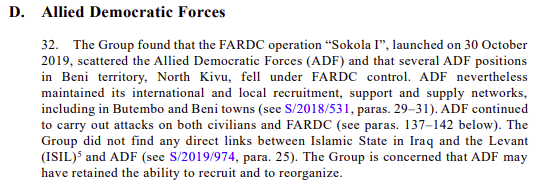 "The clause in the UN report published on June 2, 2020, stating that ""The Group did not find any direct links between Islamic State in Iraq and the Levant (ISIL) and ADF."