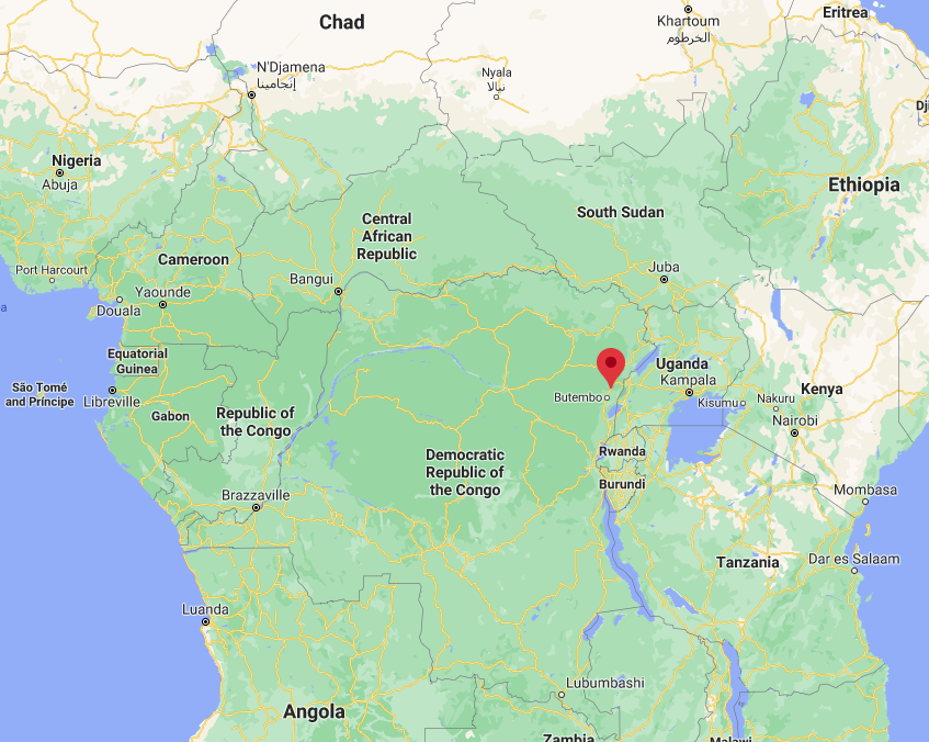 The Beni region, in the northeastern Democratic Republic of the Congo and near the border with Uganda (Google Maps)