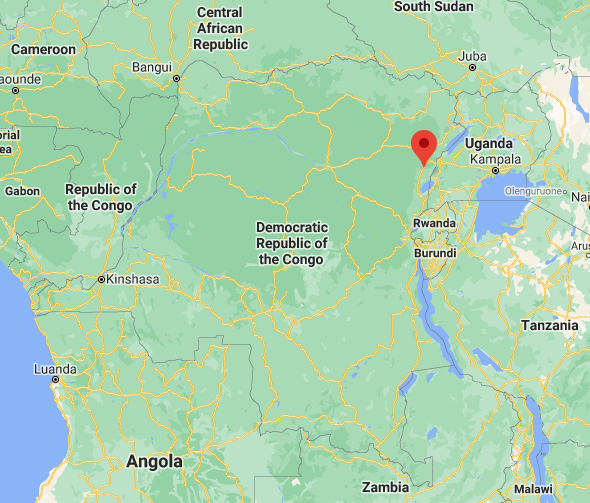 Beni region, in the northeastern Democratic Republic of the Congo, where the Kangbayi Central Prison is located (Google Maps).