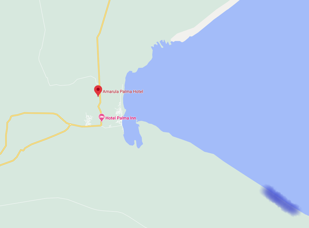 Amarula Hotel (in red) and the natural gas project (in blue), located about 10 km southeast of the city (Google Maps)