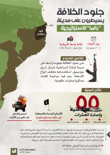 The infographic summarizing ISIS's activity in Palma (Al-Naba' weekly, Telegram, April 1, 2021)