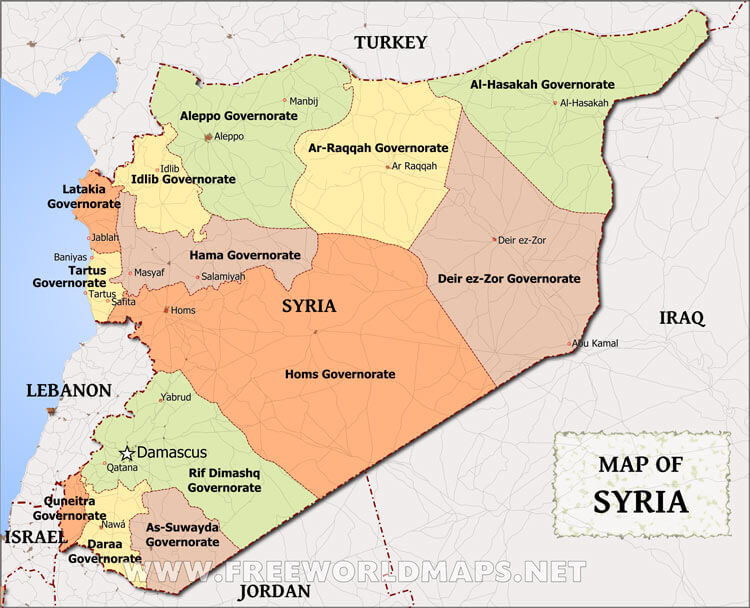 Syrian governorates (freeworldmaps.net)