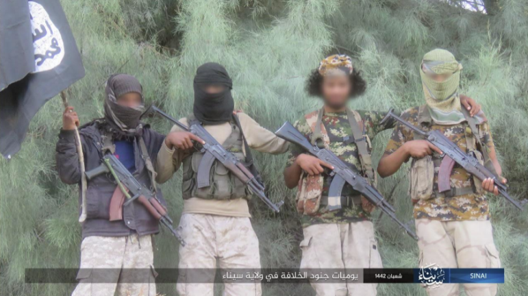 ISIS operatives in Sinai carrying weapons and raising their flag.