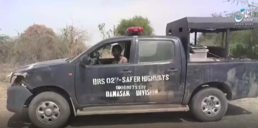 ISIS operative commandeering a Nigerian army vehicle (Telegram, April 13, 2021)