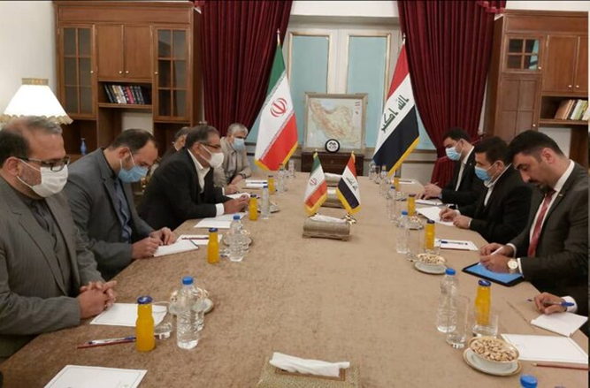 The meeting between the Iraqi national security adviser and the secretary of the Iranian Supreme National Security Council( ISNA, April 12 2021)