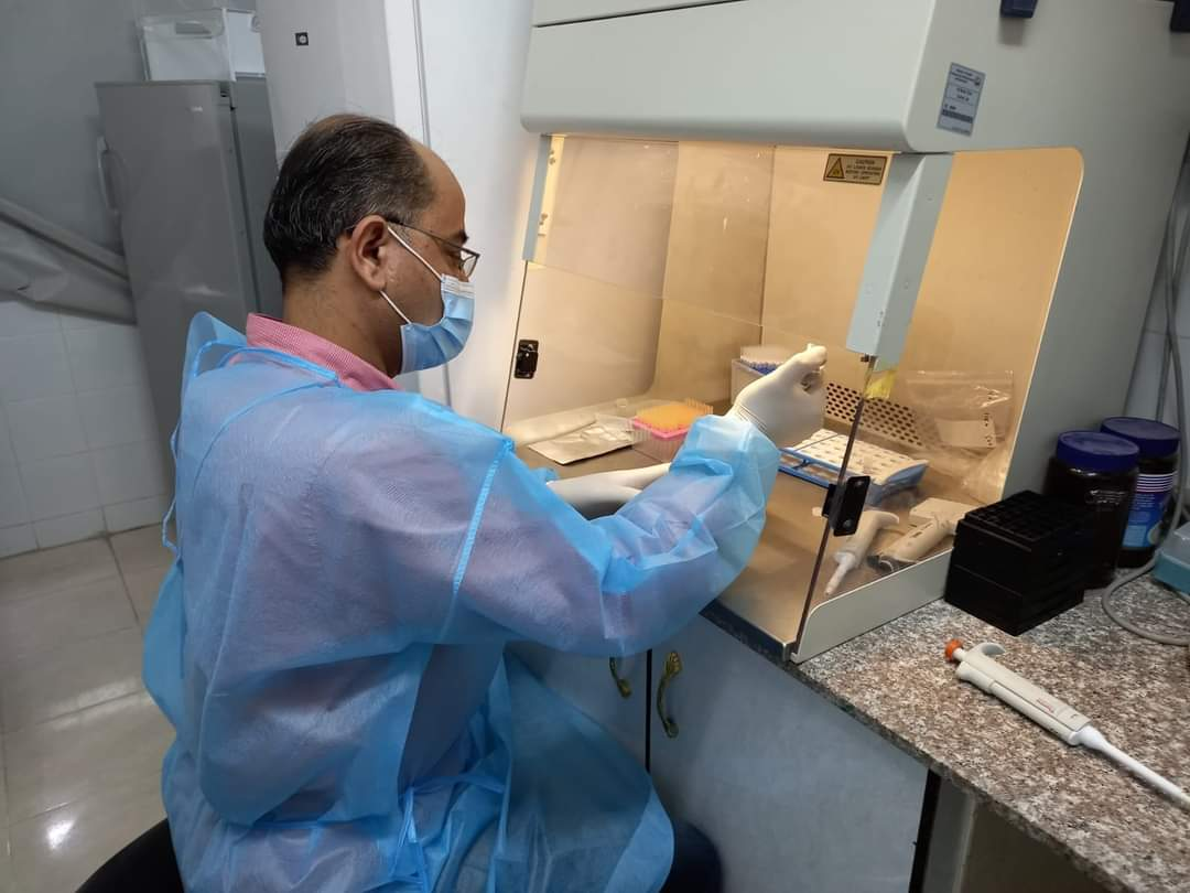 Testing for the coronavirus in Gaza's central laboratory (Palinfo Twitter account, April 15, 2021).