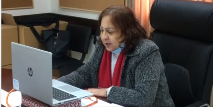 Mai al-Kayla, PA minister of health, attends an online conference on World Health Day (ministry of health in Ramallah Facebook page, April 14, 2021).