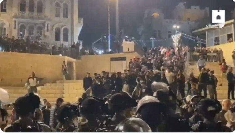 Demonstrators face Israel security forces near the Damascus Gate.