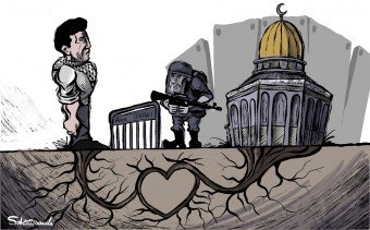 The strong connection between the Palestinians and al-Aqsa mosque in a cartoon appearing in al-Hayat al-Jadeeda, April 24, 2021.