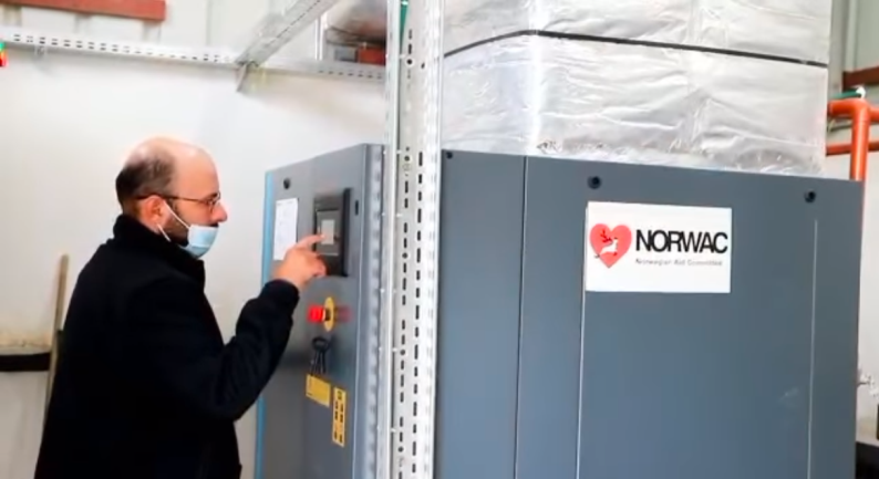 Launching an oxygen station in the European Hospital in the Gaza Strip (ministry of health in Gaza Facebook page, April 22, 2021).
