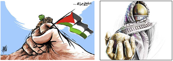 Right: Illustration from the article about the electronic intifada for the sake of Jerusalem (al-Hayat al-Jadeeda, May 25, 2021). Left: The Palestinian determination to struggle for Sheikh Jarrah (al-Quds, May 24, 2021).
