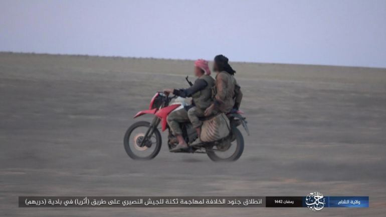 ISIS operatives setting out to attack a Syrian army camp in the Ithriya region (Telegram, April 24, 2021)