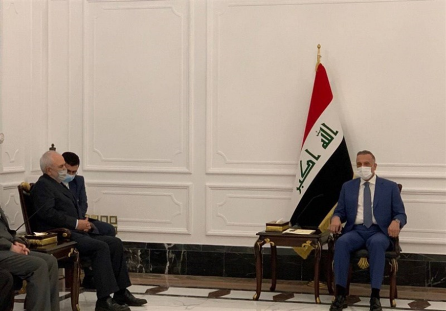 The meeting between the Iranian foreign minister and the Iraqi prime minister. Source: Tasnim, April 26
