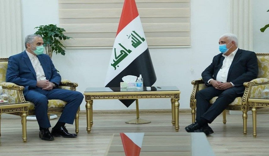 The meeting of the Iranian deputy minister of defense with the commander of the Popular Mobilization Units. Source: al-Alam, April 21
