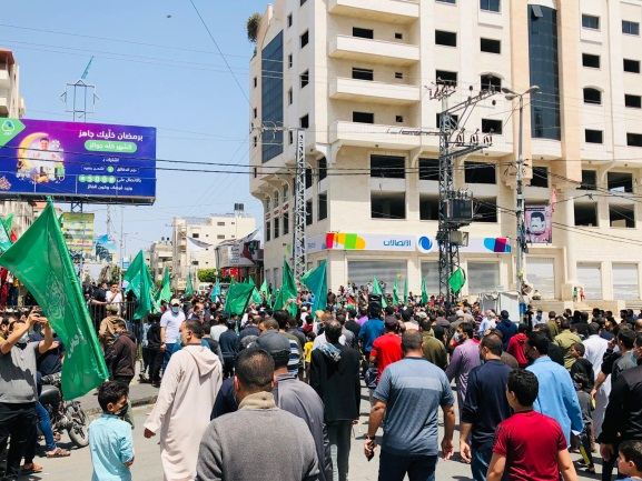 Protest demonstration in Gaza after the Friday prayers in the mosques (Palinfo Twitter account, April 30, 2021).