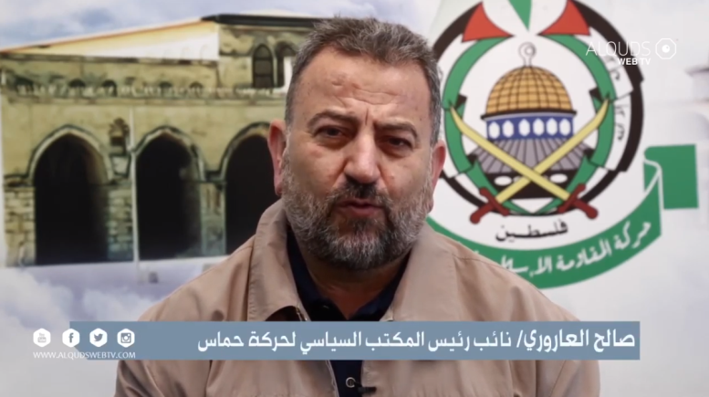 Saleh al-'Arouri with a message for east Jerusalemites (Palinfo Twitter account, April 28, 2021).