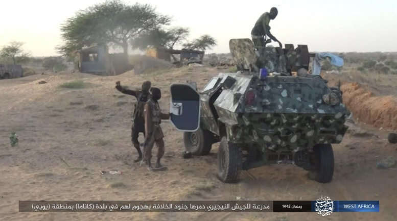 ISIS operatives commandeering a Nigerian army armored vehicle (Telegram, May 4, 2021).