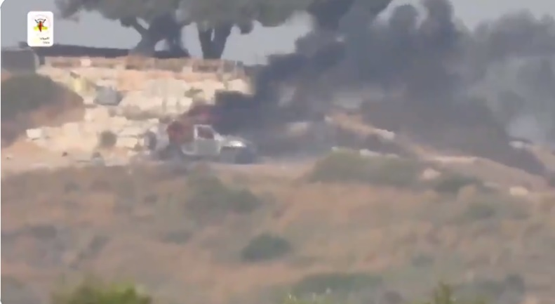 From a video issued by the PIJ's military-terrorist wing documenting the Kornet missile attack on an Israeli civilian vehicle (Twitter account of journalist Hassan Aslih, May 10, 2021).