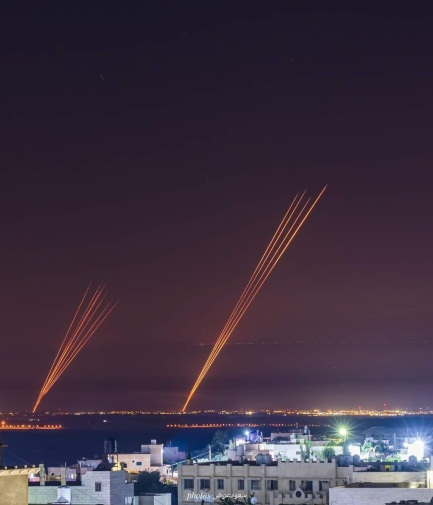 Rockets launched from the Gaza Strip (Palinfo Twitter account, May 12, 2021).