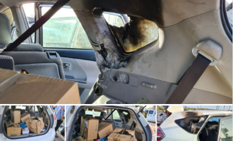The vehicle that was attacked (Gush Etzion security, May 10, 2021).