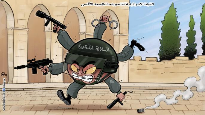 """Cartoon in the Al-Araby Al-Jadeed daily newspaper comparing Israeli security forces to a mutant: """"Israeli forces invade the plaza of the Al-Aqsa Mosque"""", """"The Reckless Mutation"""" (Al-Araby Al-Jadeed, London, May 9, 2021)"""