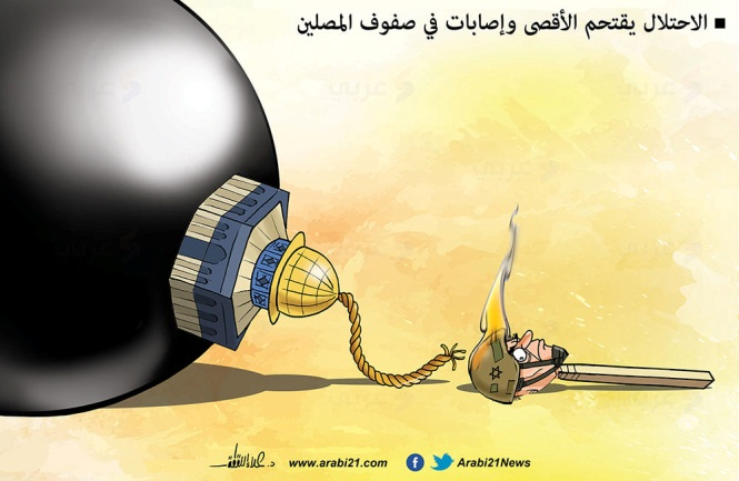 """Cartoon depicting the volatility of the situation on the Temple Mount: """"The occupation is invading the Al-Aqsa [mosque] and [there are] wounded among the worshipers"""" (Facebook page of Palestinian cartoonist Alaa' Allaqta, May 7, 2021)."""