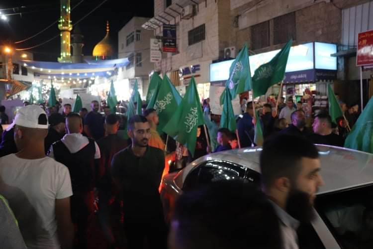 Hamas holds a demonstration and riot in Dura in solidarity with the Gaza Strip (Palinfo Twitter account, May 12, 2021).