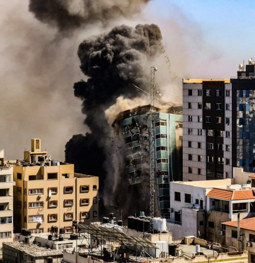 The IDF attack on the al-Jalaa Building in Gaza City.