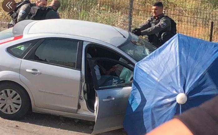 The scene of the vehicular ramming attack in Sheikh Jarrah in east Jerusalem.
