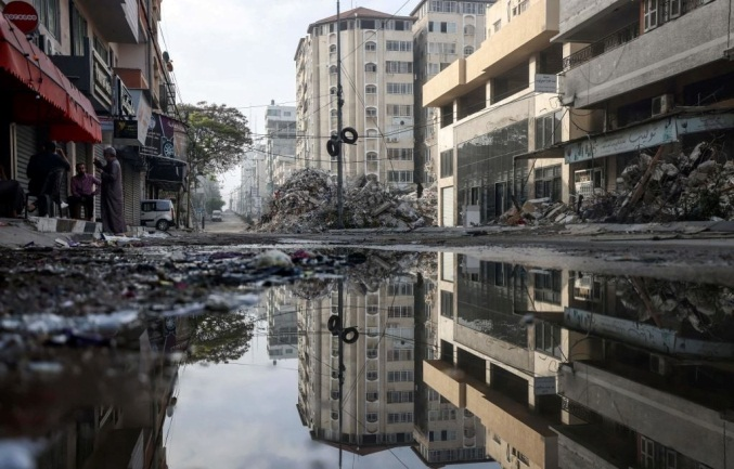 The Rimal neighborhood of Gaza City after IDF attacks (QudsN Facebook page, May 20, 2021).