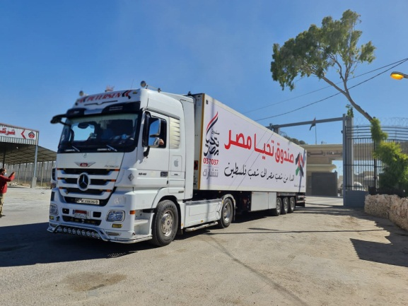 Humanitarian assistance from Egypt for the Gaza Strip (Twitter account of journalist Hassan Aslih, May 23, 2021).