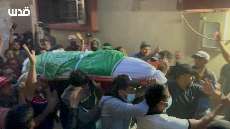Funeral held for four Hamas terrorist operatives (QudsN Facebook page, May 24, 2021).